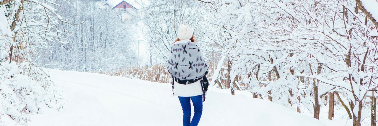 woman walking on winter day