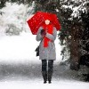 woman with a red umbrella in the snow