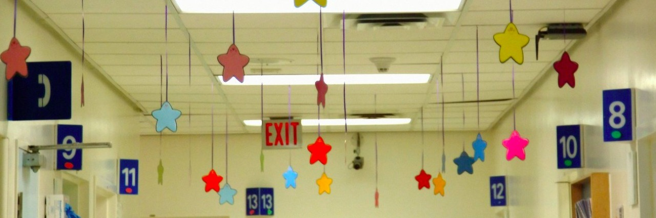 stars hanging from the ceiling of a children's hospital