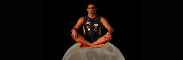 a photo of the author's husband sitting on a moon