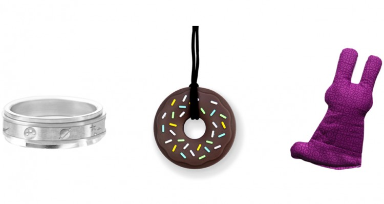 Starry Night Spinner Ring, Chewable Frosted Donut Pendant Necklace Weighted Bunny Lap Pad