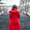 young woman looking towards to the stairs, conceptual photo
