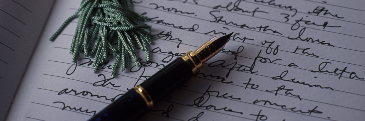 Writing a letter.