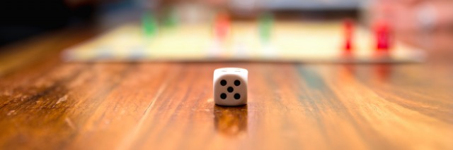 Close up of a dice with blurred background