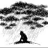 sketch of man under stormy rainy clouds