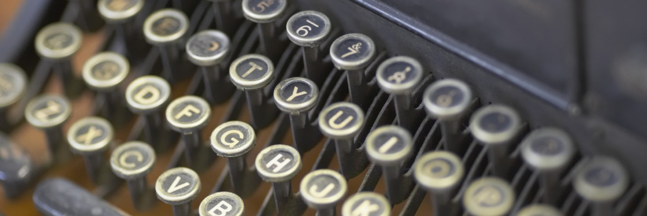 Close-up of a typewriter.