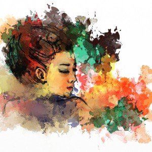 watercolor of woman side profile