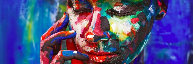 Female face with closed eyes and hand under your face. Mix of painting and live photo