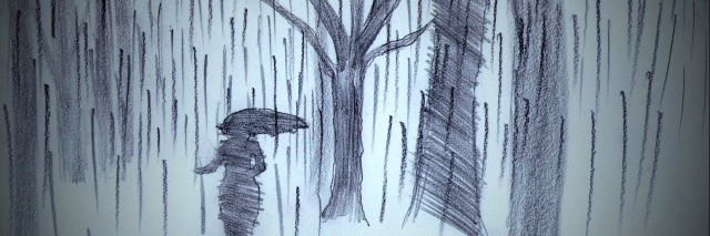 Illustration of woman with umbrella walking through forest in the winter