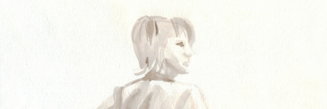 figure of a woman painted in brown watercolor, sketch