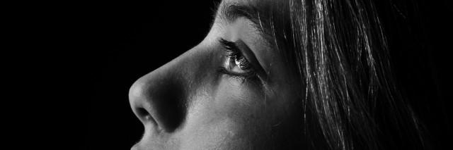 Monochrome portrait of young beautiful girl