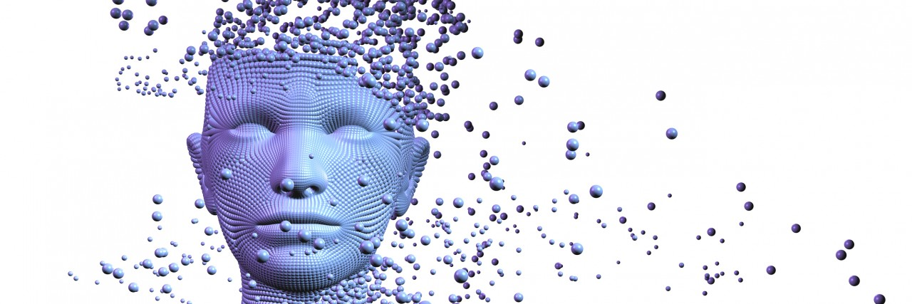 3d image,woman composed of balls. Artificial intelligence concept
