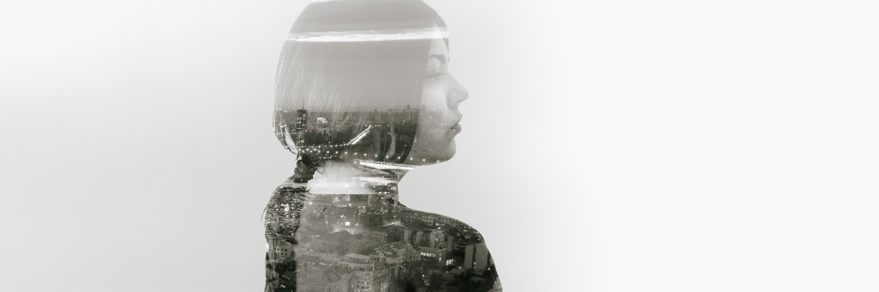 Abstract portrait of a woman and city