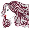 Profile of beautiful woman with waving hair.Graphic style.
