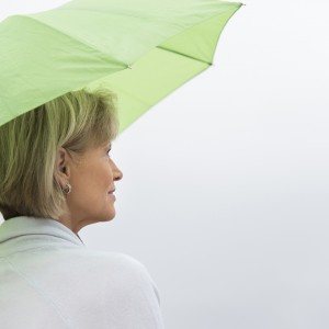 Woman With Green Umbrella Against Clear Sky