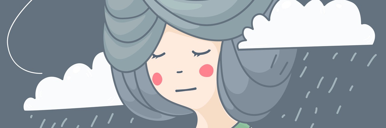 illustration of woman with rainy clouds and her thoughts,