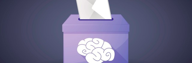 Illustration of a ballot box with a vote and a brain