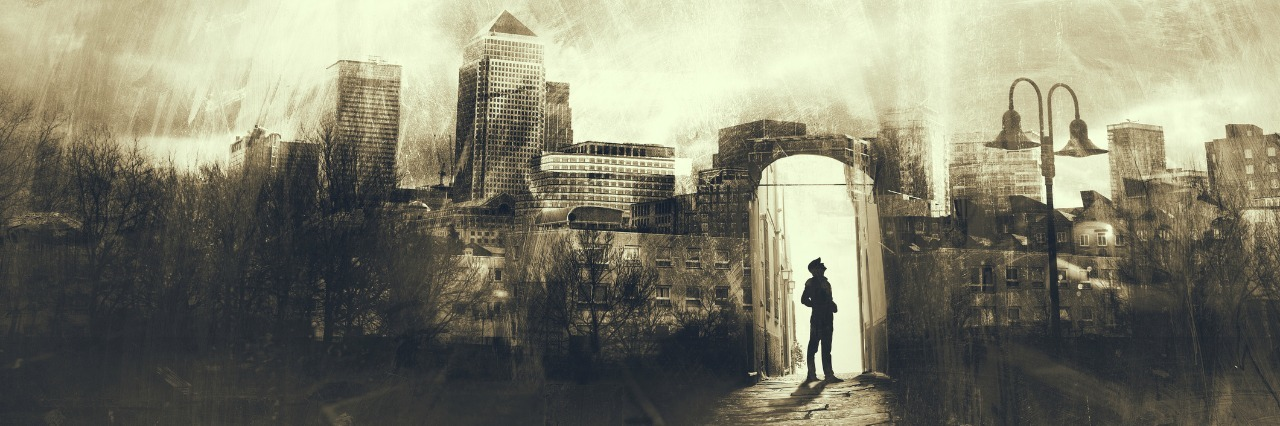 illustration of a man waking in a dark city