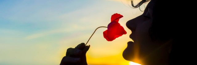 young woman smelling a poppy flower as the sun sets
