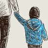 Illustration of parents walking with child