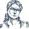 blue and white illustration of woman looking upset