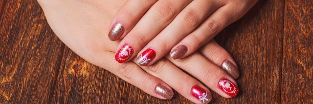 A woman with festive nails.