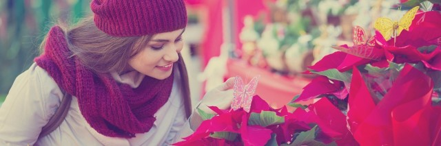 woman in red scarf and hat looking at poinsettias outside at a christmas market