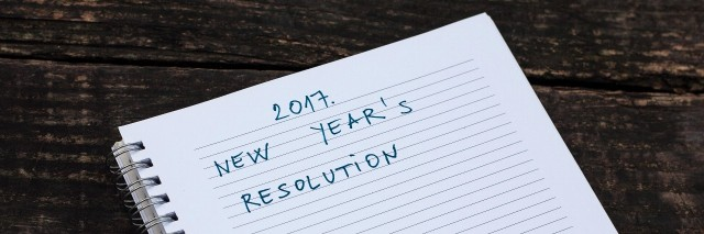 handwritten list with new years resolutions for 2017