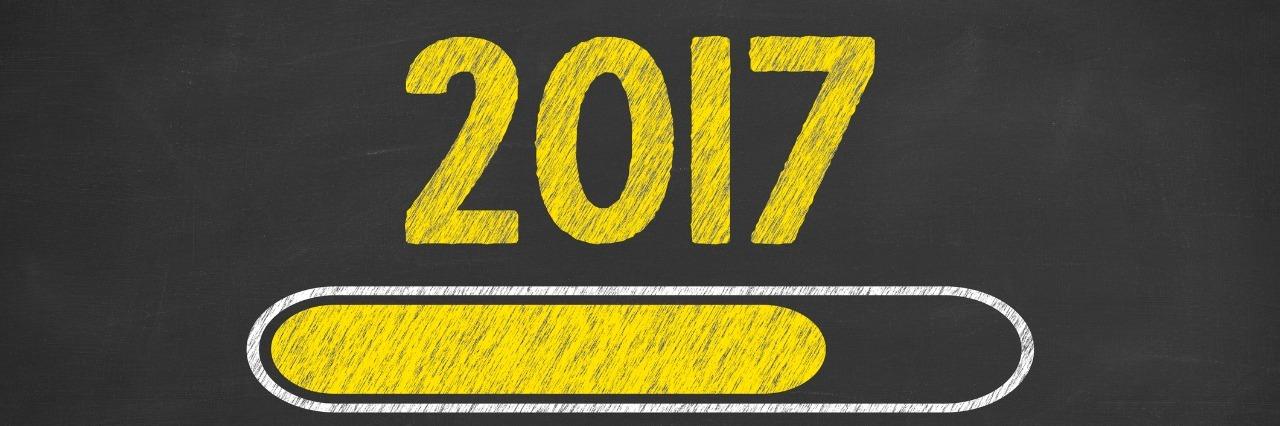 Drawing Loading New Year 2017 on Chalkboard