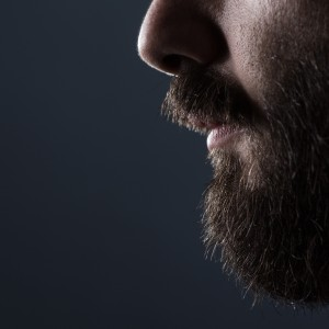Profile Close Up of a Man with Brown Beard on Gray Background