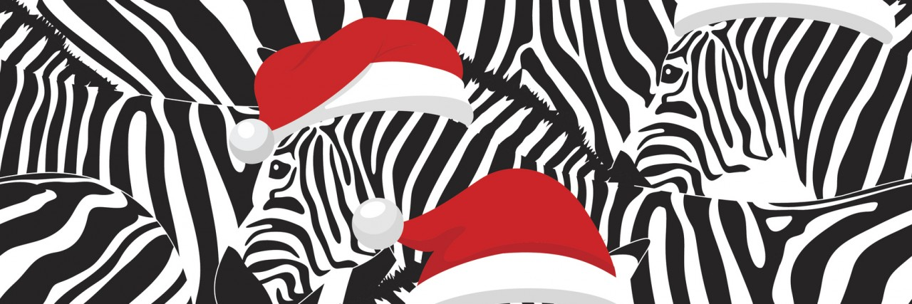 Zebra wearing Santa hats