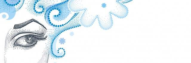Vector illustration of half dotted beautiful girl face with snowflake and blue curly hair isolated on white. Winter background in dotwork style.