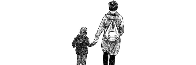 Mother walking with her son.
