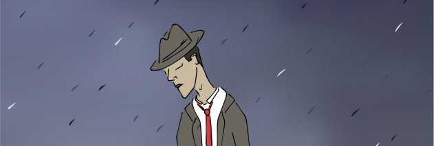 A gloomy and disheveled man walks through the rain eyes downcast and bottle in hand.