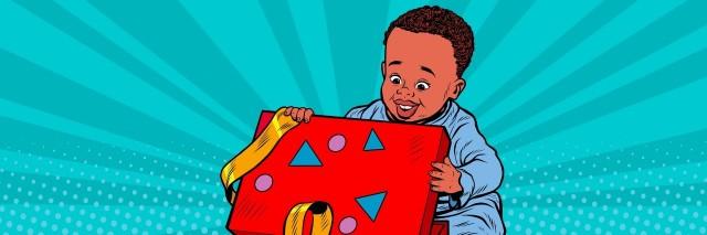 Pop art boy opens the gift box