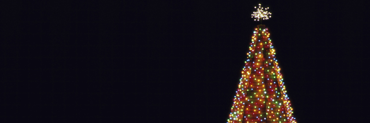 Illuminated Christmas tree at night.