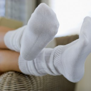 Woman wearing socks