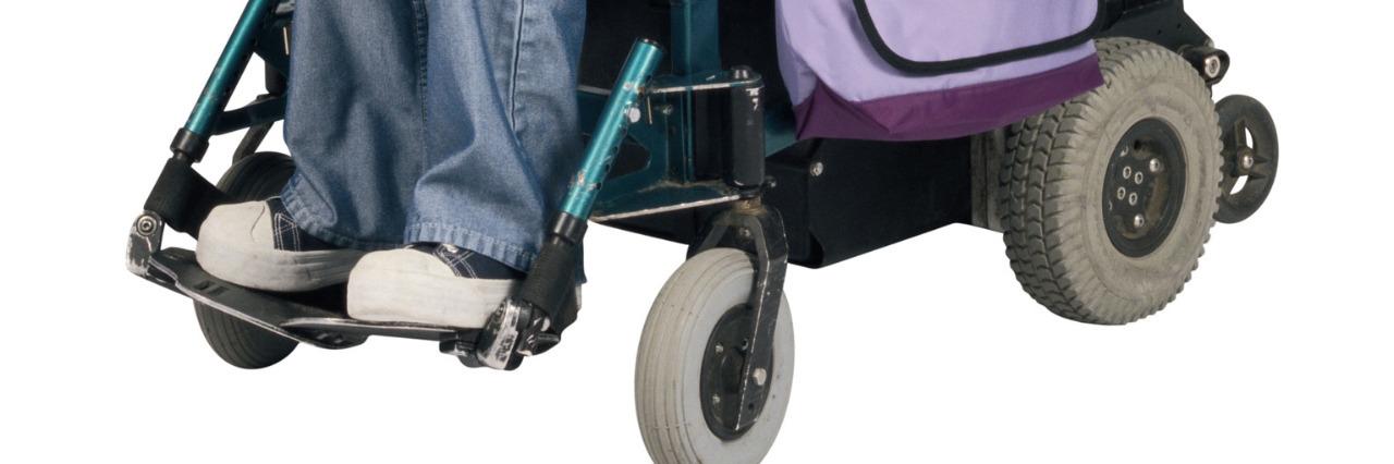 Woman in a wheelchair.