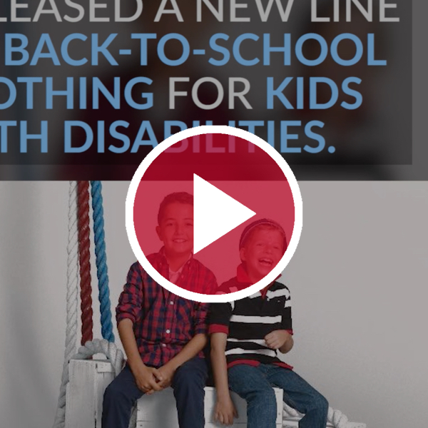 kids with disabilities model tommy hilfiger's disability line in front of video button