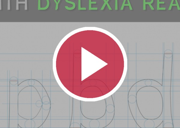 Dyslexie font with video play symbol over top