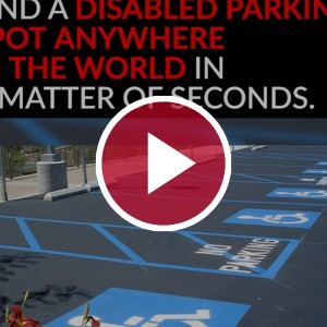 disabled parking spots behind red video play button