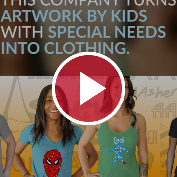 4 people modeling with clothing drawn by kids with special needs behind red video play button