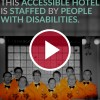 staff with disabilities under a red video play button