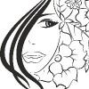 drawing of girl with hair covering half of face and flowers behind the other half of her face