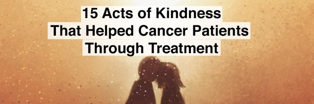 watercolor of couple on bench with words 15 acts of kindness that helped cancer patients through treatment