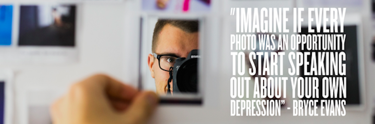 """A man looking at the mirror and holding a camera. Text reads, """"Image if every photo was an opportunity to start speaking about your own depression."""""""
