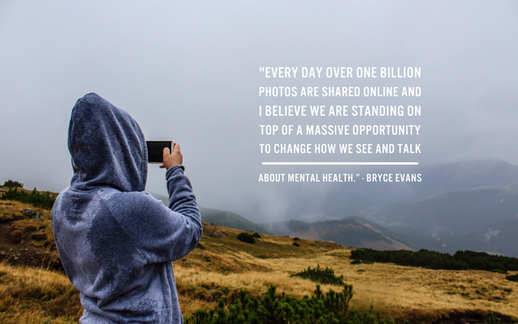 woman taking a photo. Caption reads: Every day over one billion photos are shared online and I believe we are standing on a massive opportunity to change how we see and talk about mental health.
