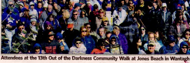a shot from the American Foundation for Suicide Prevention walk