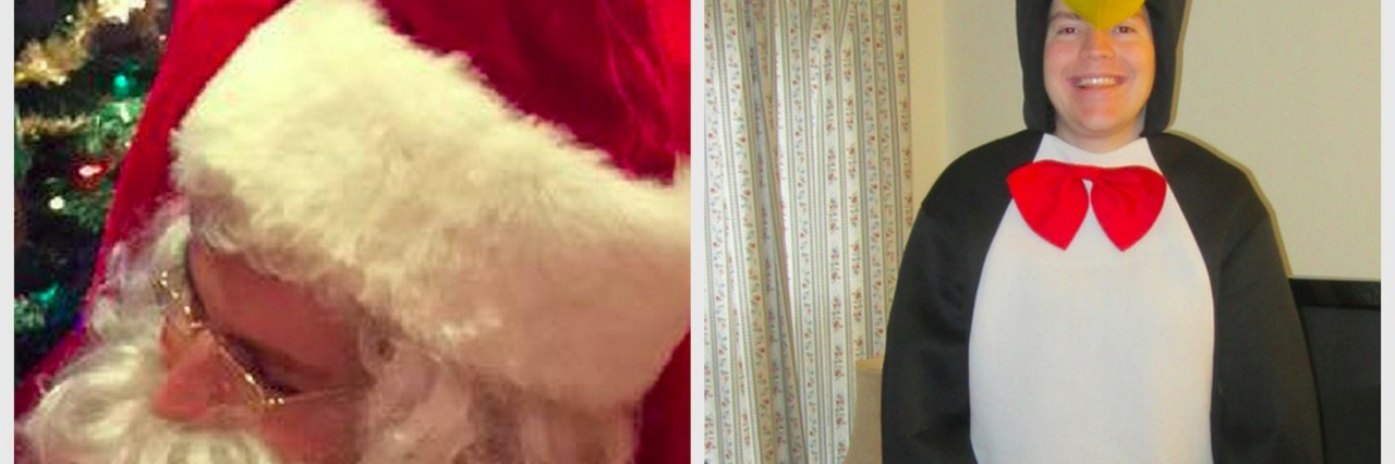 Kerry Magro dressed up as Santa and as a penguin