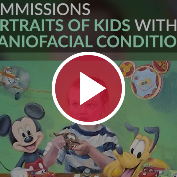 painting of a kid with craniofacial condition under red video play button